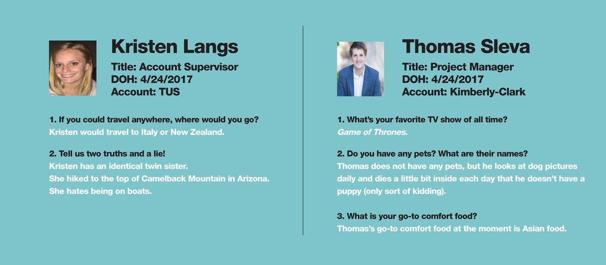 Kristen Langs  Thomas Sleva  Title  Account Supervisor DOH  4 24 2017 Account  TUS  Title  Project Manager DOH  4 24 2017 ...