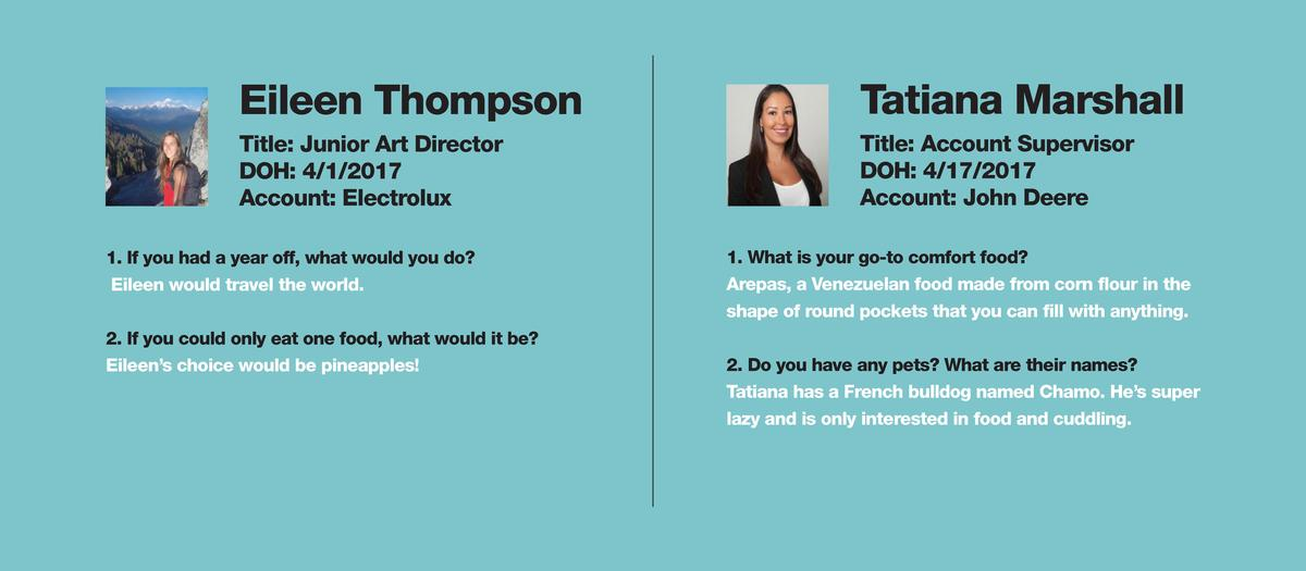 Eileen Thompson  Tatiana Marshall  Title  Junior Art Director DOH  4 1 2017 Account  Electrolux  Title  Account Supervisor...
