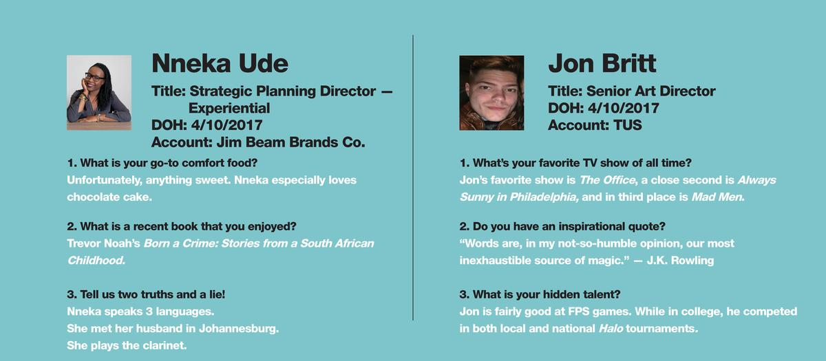 Nneka Ude  Jon Britt  Title  Strategic Planning Director     Experiential DOH  4 10 2017 Account  Jim Beam Brands Co.  Tit...