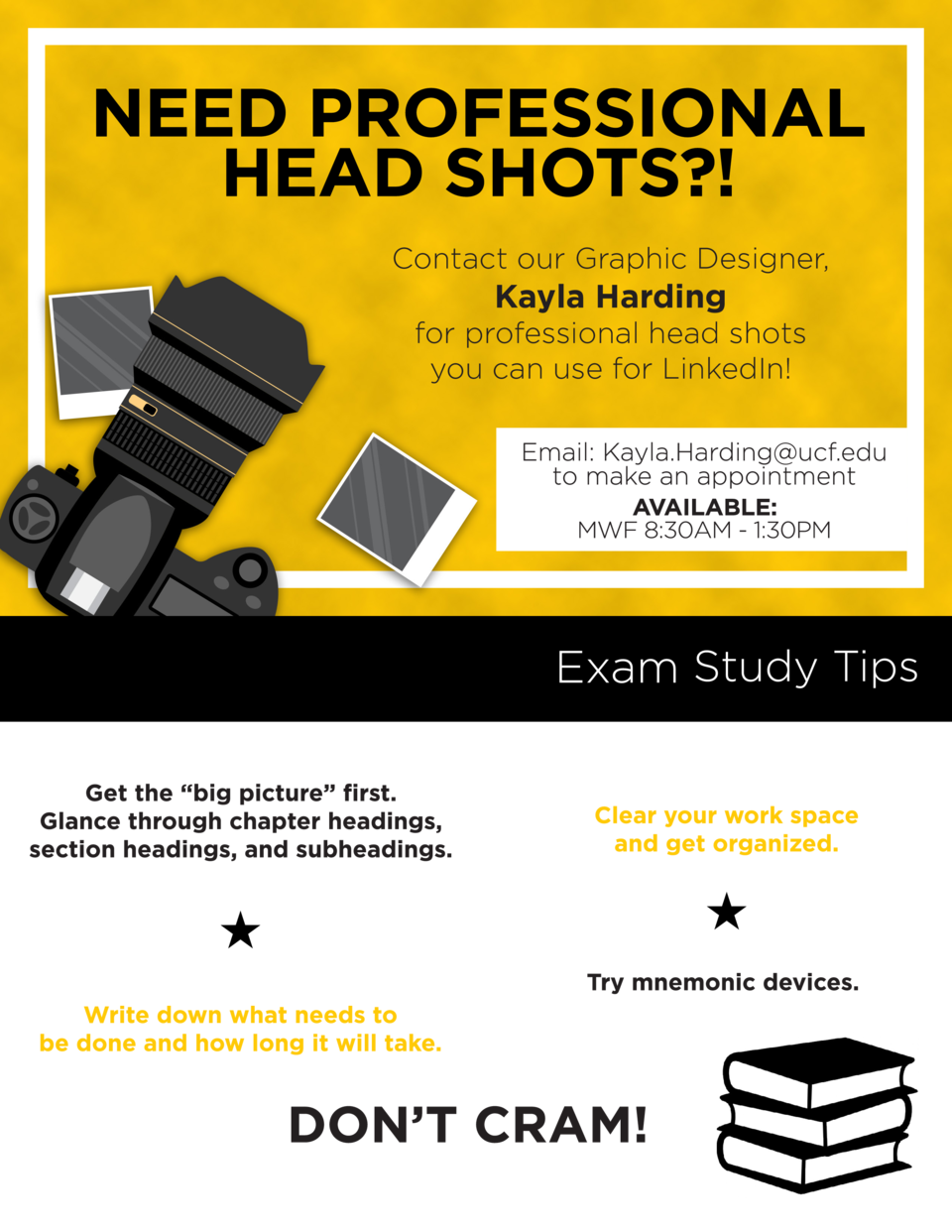 Contact our Graphic Designer,  Kayla Harding for professional head shots you can use for LinkedIn