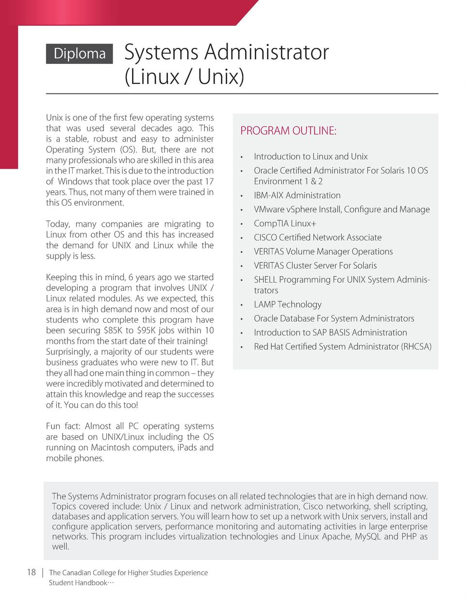 Diploma  Systems Administrator  linux   unix   unix is one of the first few operating systems that was used several decade...