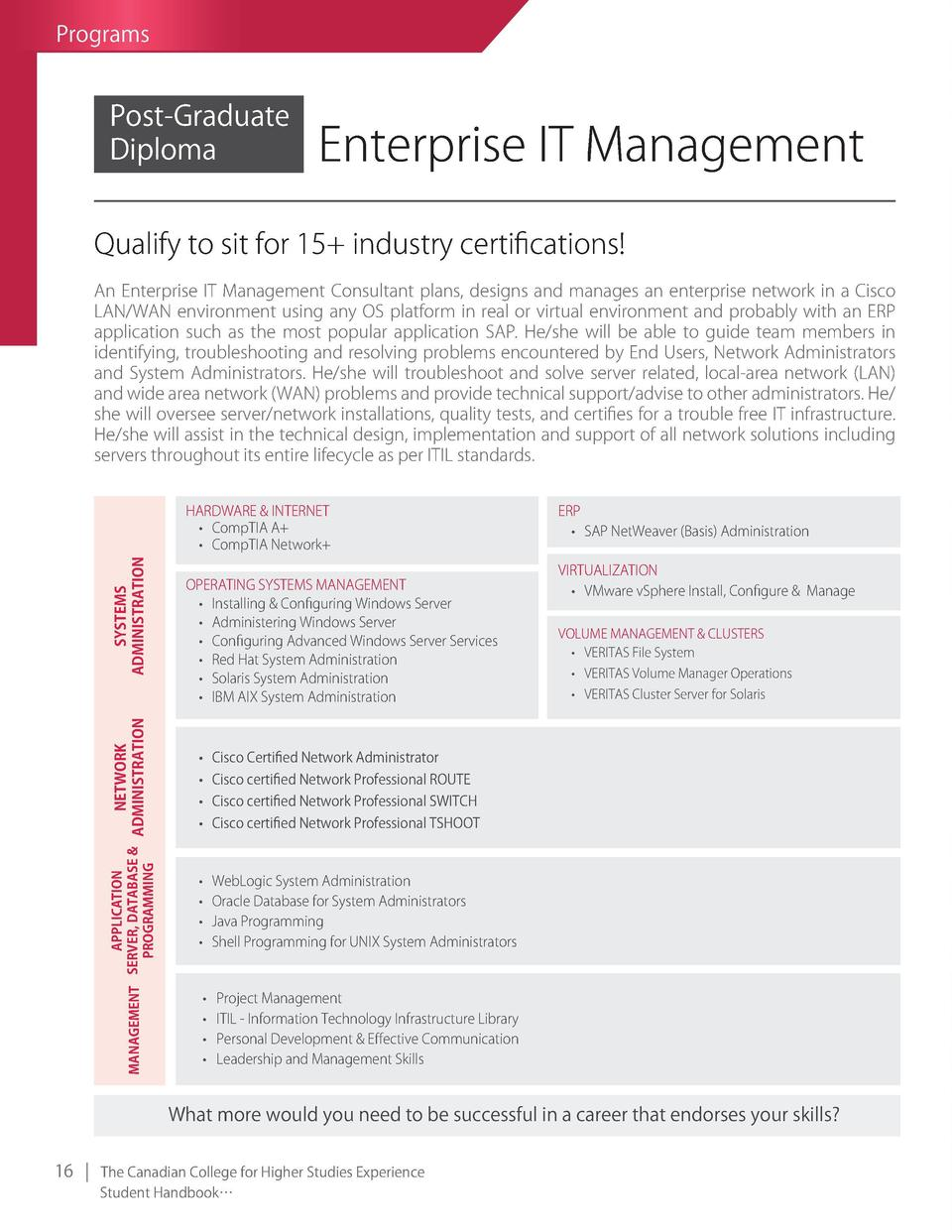 Programs  Post-graduate Diploma  Enterprise IT Management  Qualify to sit for 15  industry certifications  An Enterprise I...