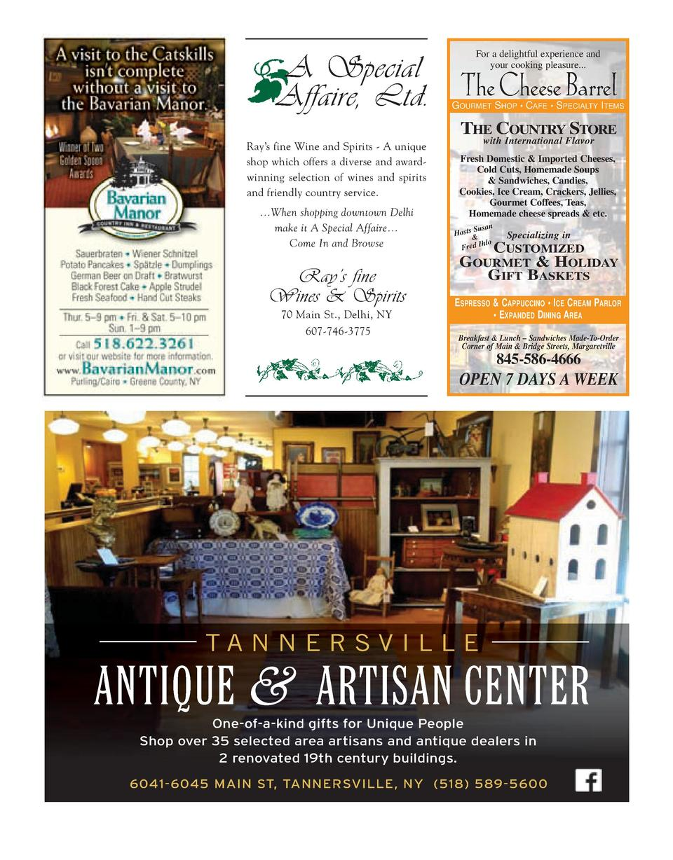 For a delightful experience and your cooking pleasure...  A Special Affaire, Ltd. The Cheese Barrel  GOURMET SHOP     CAFE...