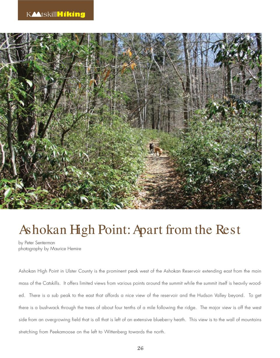 K  tskillHiking  Ashokan High Point  Apart from the Rest  by Peter Senterman photography by Maurice Hemire  Ashokan High P...