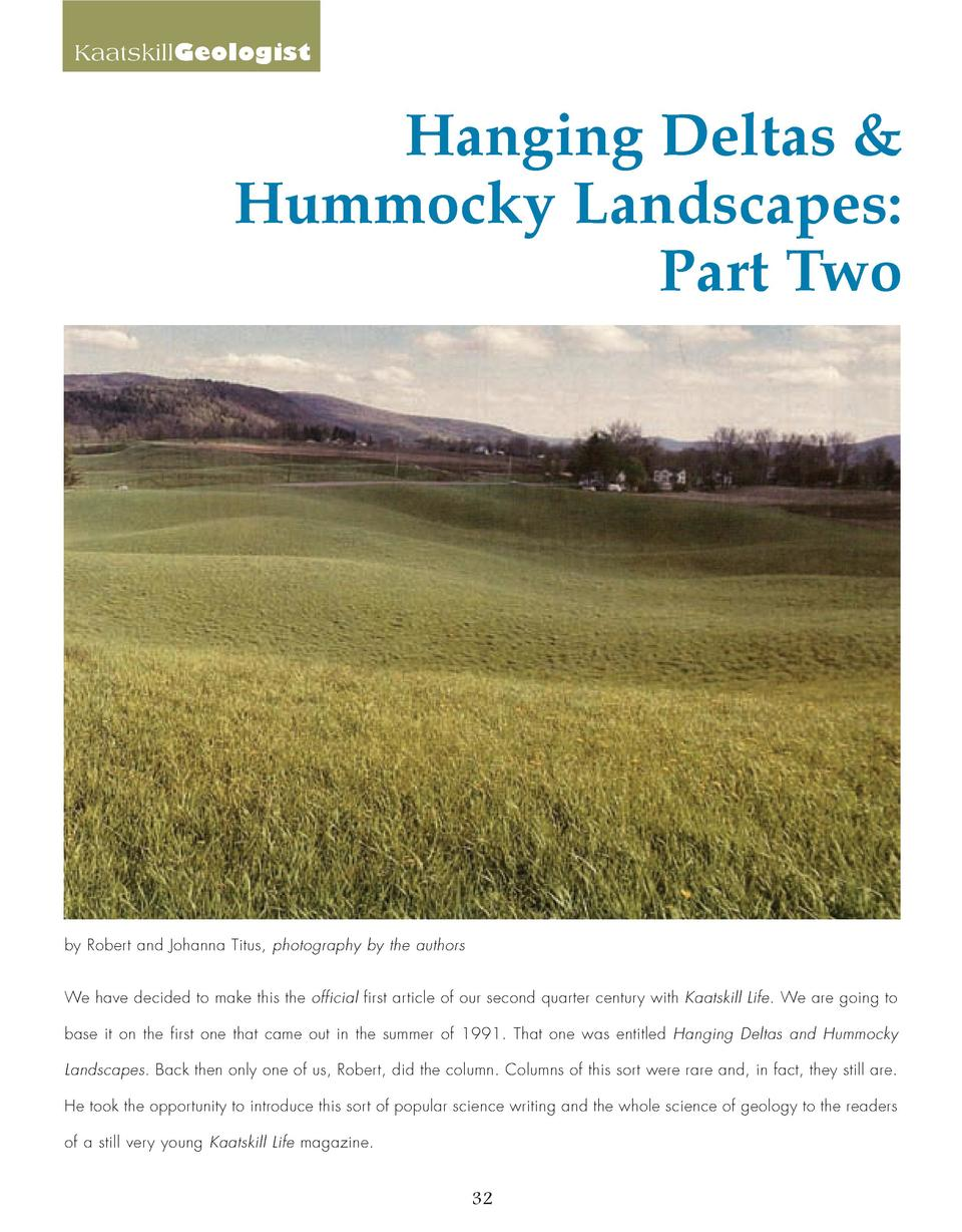KaatskillGeologist  Hanging Deltas   Hummocky Landscapes  Part Two  by Robert and Johanna Titus, photography by the author...