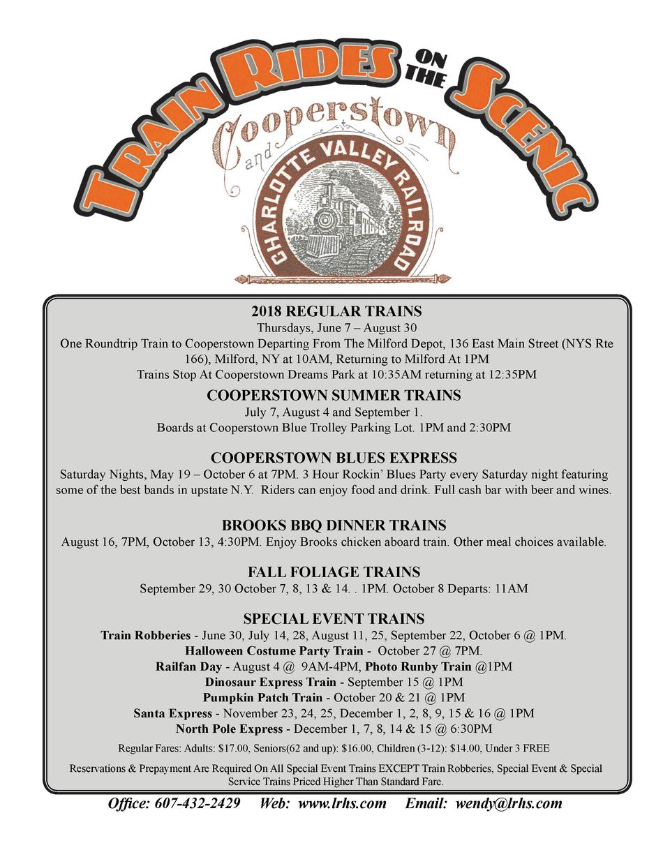20118 REGULAR TRAINS Th hursdays, June 7     August 30 One Roundtrip Train to Cooperstown Deeparting From The Milfordd Dep...