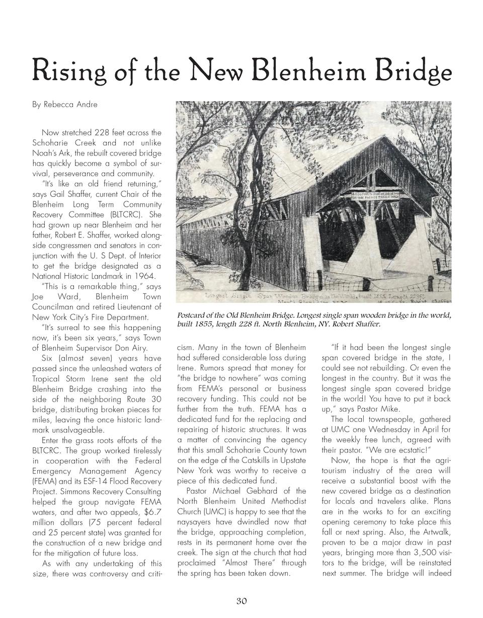 Rising of the New Blenheim Bridge By Rebecca Andre Now stretched 228 feet across the Schoharie Creek and not unlike Noah  ...