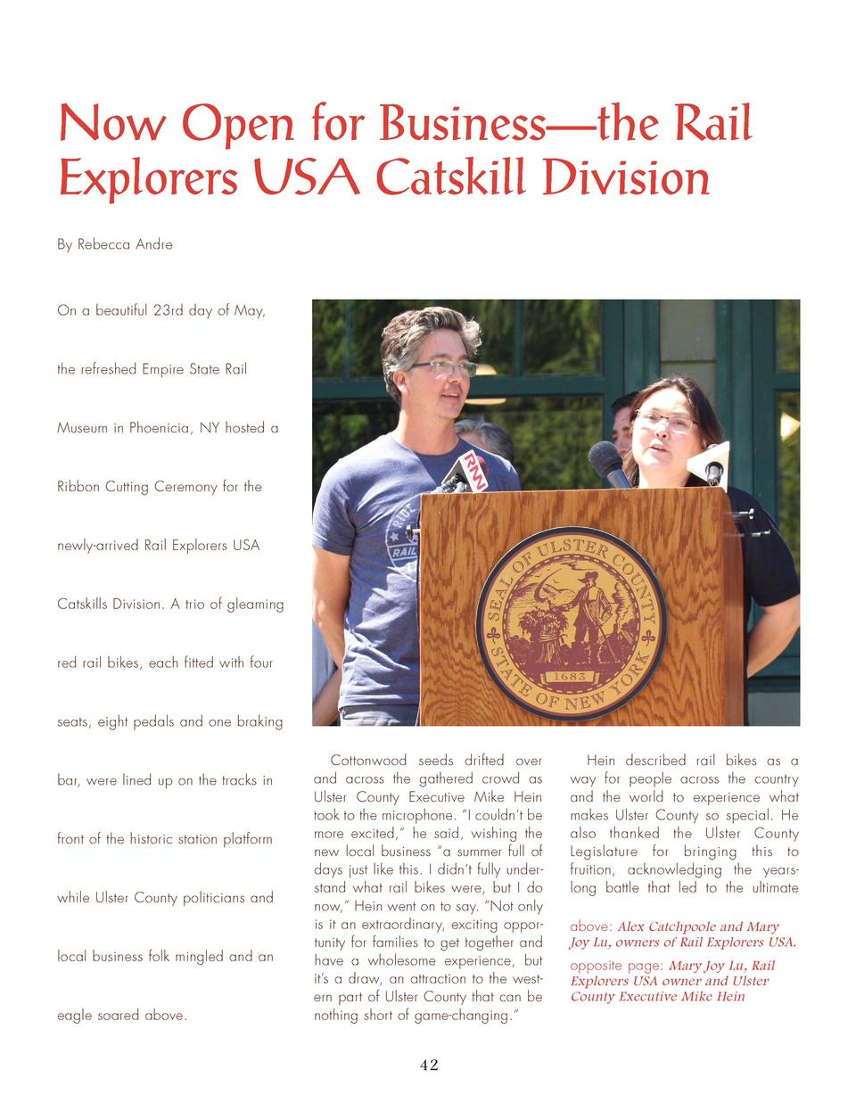 Now Open for Business   the Rail Explorers USA Catskill Division By Rebecca Andre  On a beautiful 23rd day of May,  the re...