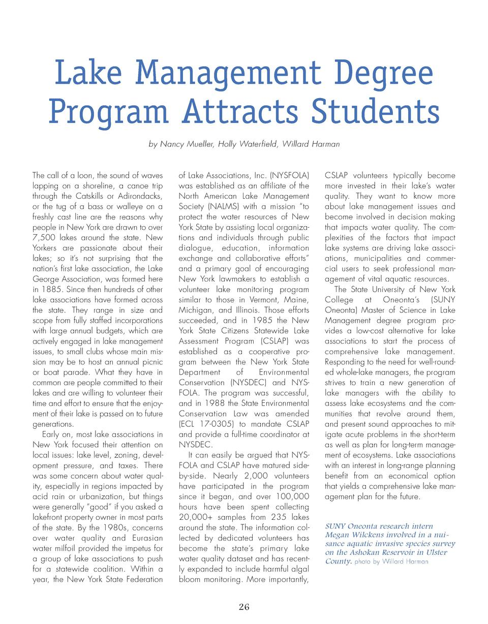26_28_Lake_Management_FEATURE.qxp_Template 2 19 16 7 22 PM Page 1  Lake Management Degree Program Attracts Students by Nan...