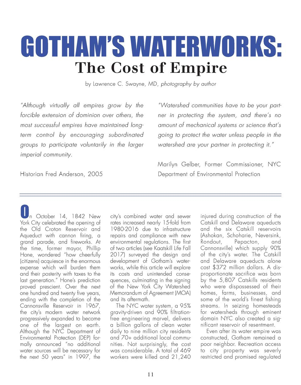 GOTHAM   S WATERWORKS  The Cost of Empire by Lawrence C. Swayne, MD, photography by author     Although virtually all empi...