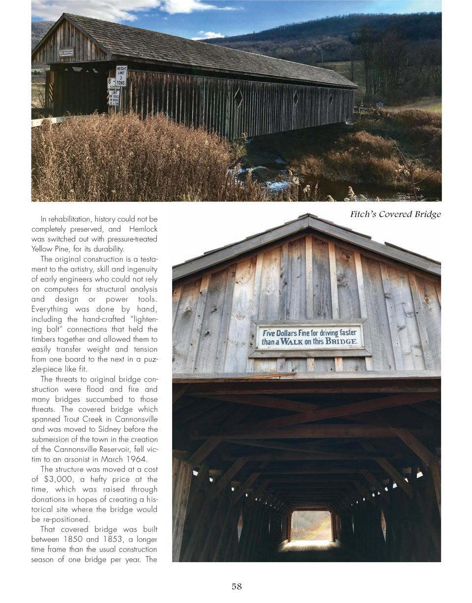 Fitch   s Covered Bridge  In rehabilitation, history could not be completely preserved, and Hemlock was switched out with ...