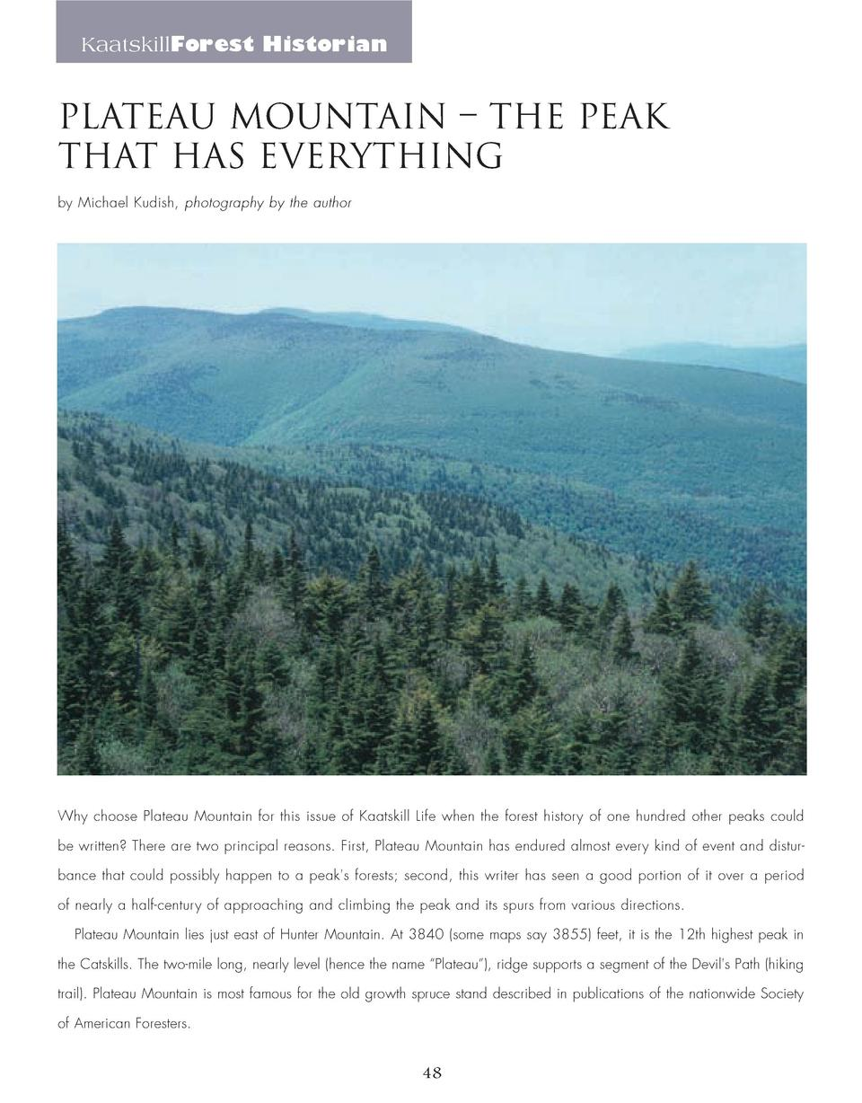 KaatskillForest Historian  PLATEAU MOUNTAIN     THE PEAK THAT HAS EVERYTHING by Michael Kudish, photography by the author ...