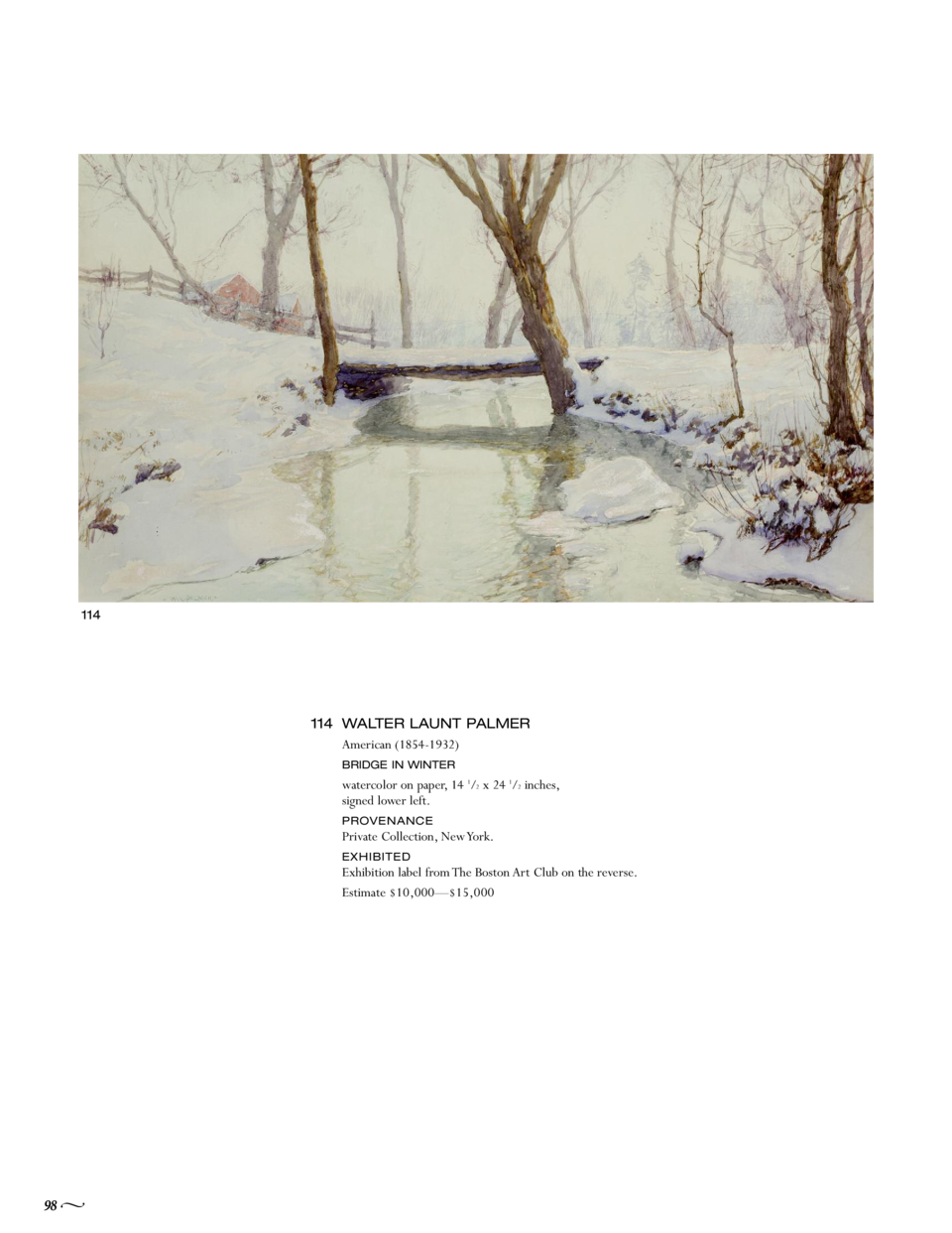 114  114 WALTER LAUNT PALMER American  1854-1932  BRIDGE IN WINTER  watercolor on paper, 14 1 2 x 24 1 2 inches, signed lo...