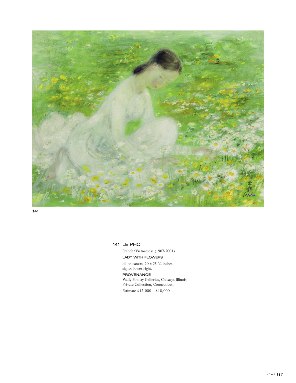 141  141 LE PHO French Vietnamese  1907-2001  LADY WITH FLOWERS  oil on canvas, 20 x 25 3 4 inches, signed lower right. Wa...
