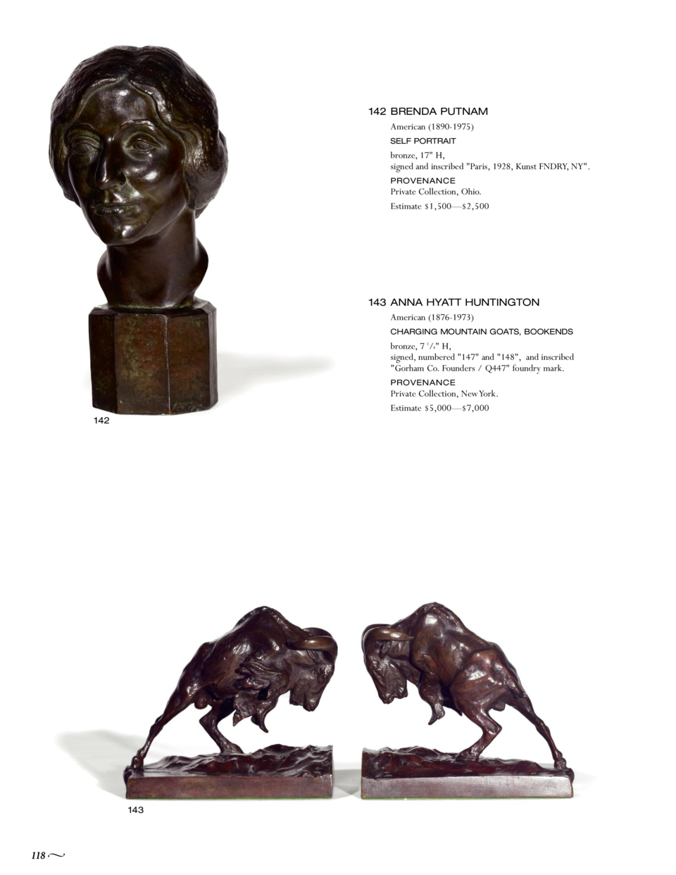 142 BRENDA PUTNAM American  1890-1975  SELF PORTRAIT  bronze, 17  H, signed and inscribed  Paris, 1928, Kunst FNDRY, NY . ...