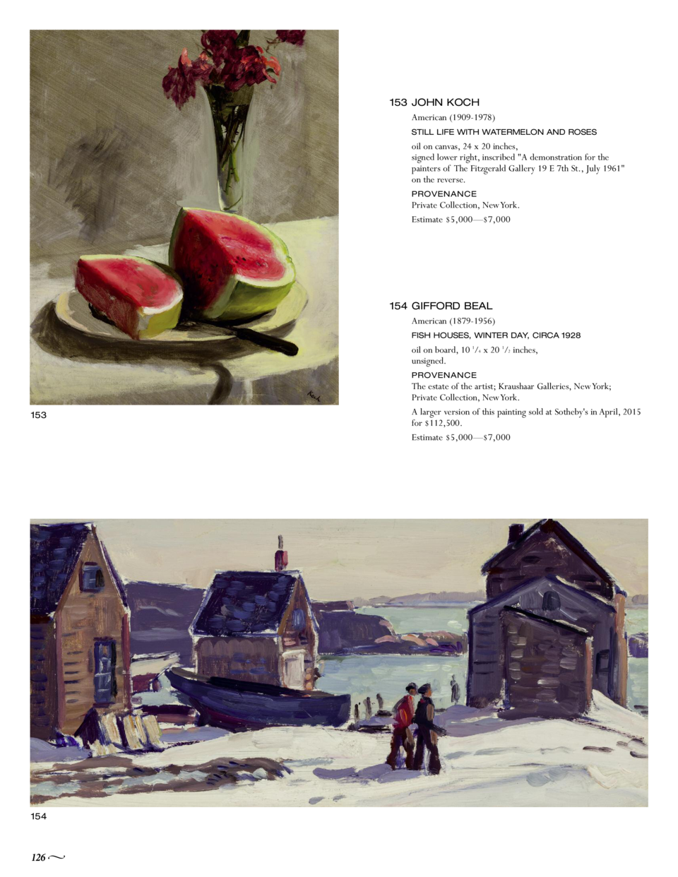 153 JOHN KOCH American  1909-1978  STILL LIFE WITH WATERMELON AND ROSES  oil on canvas, 24 x 20 inches, signed lower right...