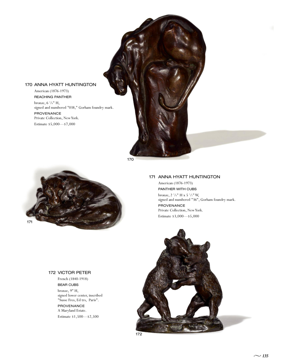 170 ANNA HYATT HUNTINGTON American  1876-1973  REACHING PANTHER  bronze, 6 3 8  H, signed and numbered  038,  Gorham found...