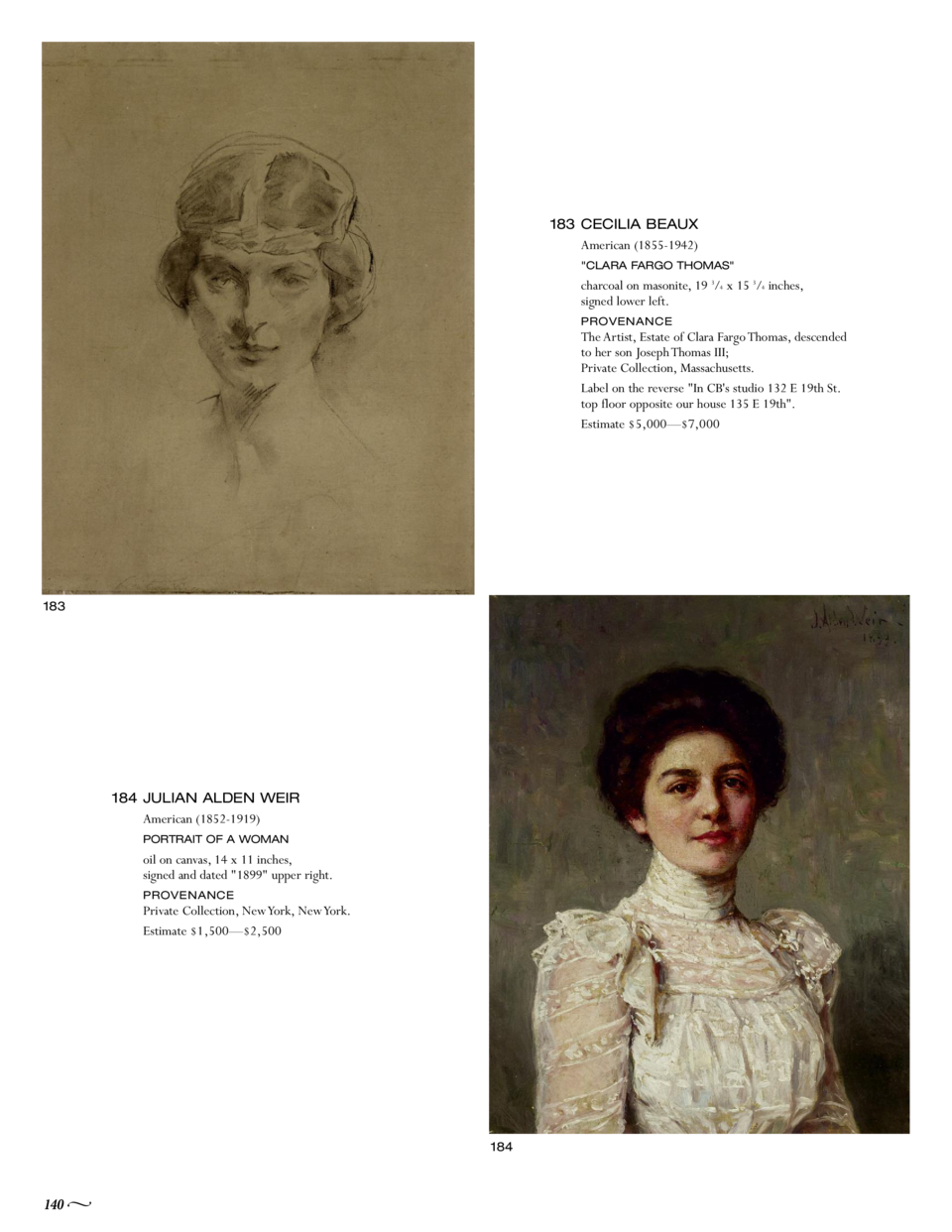 183 CECILIA BEAUX American  1855-1942   CLARA FARGO THOMAS   charcoal on masonite, 19 3 4 x 15 3 4 inches, signed lower le...
