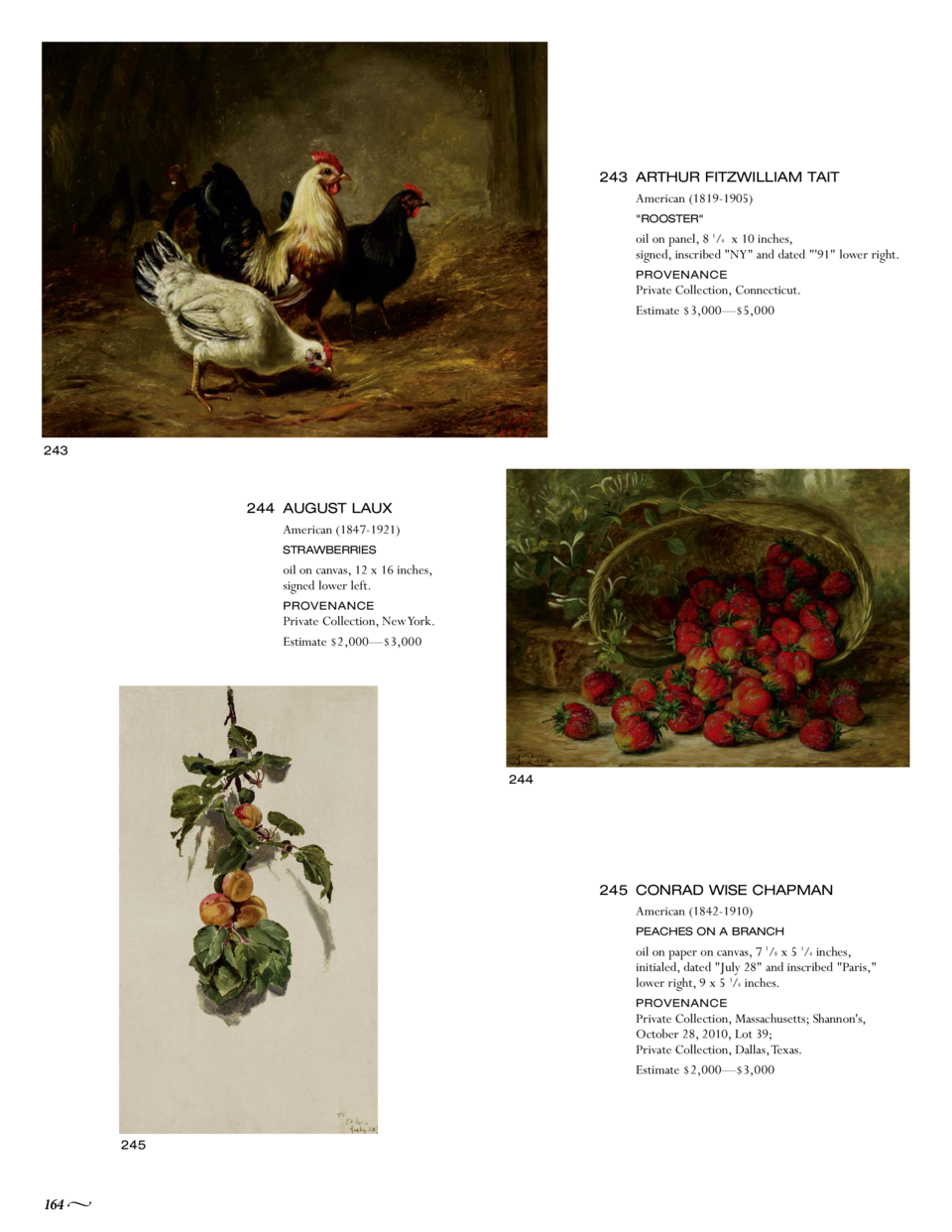 243 ARTHUR FITZWILLIAM TAIT American  1819-1905   ROOSTER   oil on panel, 8 1 4 x 10 inches, signed, inscribed  NY  and da...