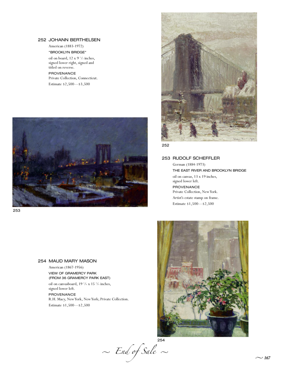 252 JOHANN BERTHELSEN American  1883-1972   BROOKLYN BRIDGE   oil on board, 12 x 9 1 2 inches, signed lower right, signed ...