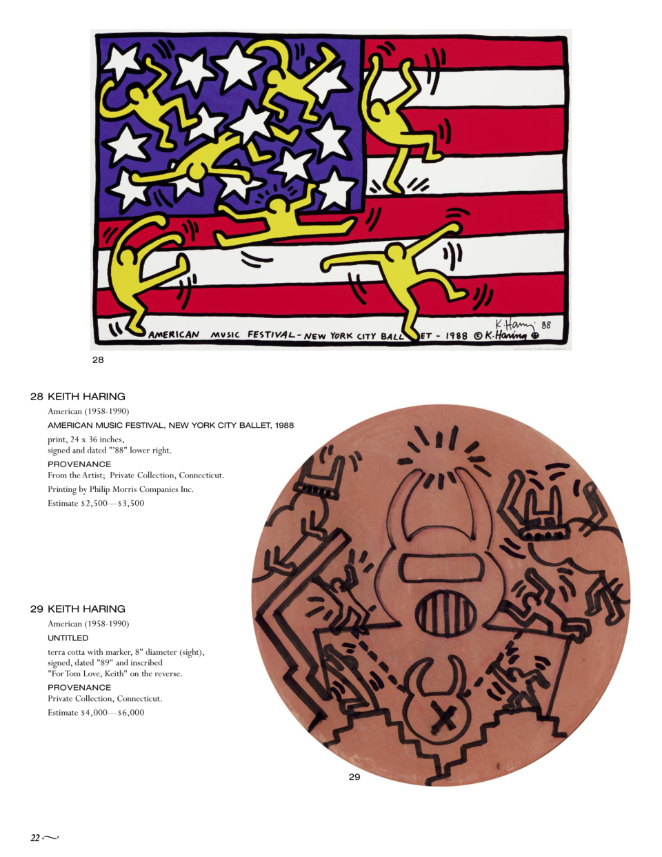 28  28 KEITH HARING American  1958-1990  AMERICAN MUSIC FESTIVAL, NEW YORK CITY BALLET, 1988  print, 24 x 36 inches, signe...