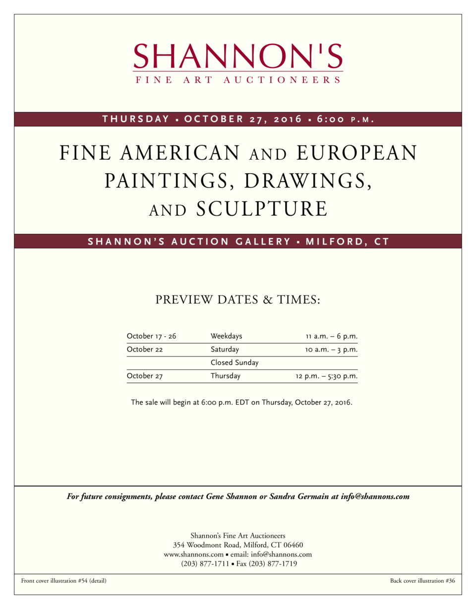 THURSDAY       OCTOBER 27, 2016       6 00  P.M  .  FINE AMERICAN A N D EUROPEAN PAINTINGS, DRAWINGS, A N D SCULPTURE SHAN...