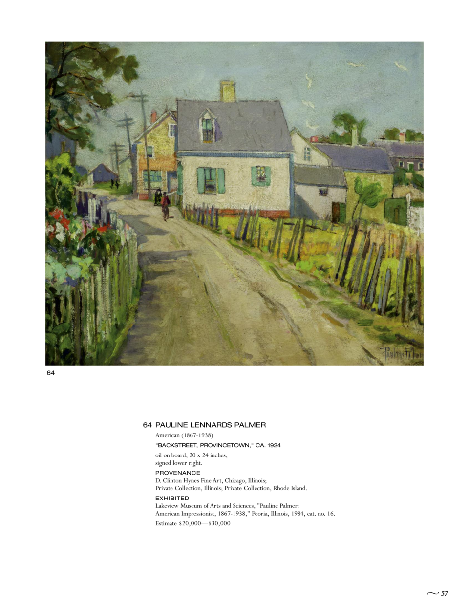 64  64 PAULINE LENNARDS PALMER American  1867-1938   BACKSTREET, PROVINCETOWN,  CA. 1924  oil on board, 20 x 24 inches, si...