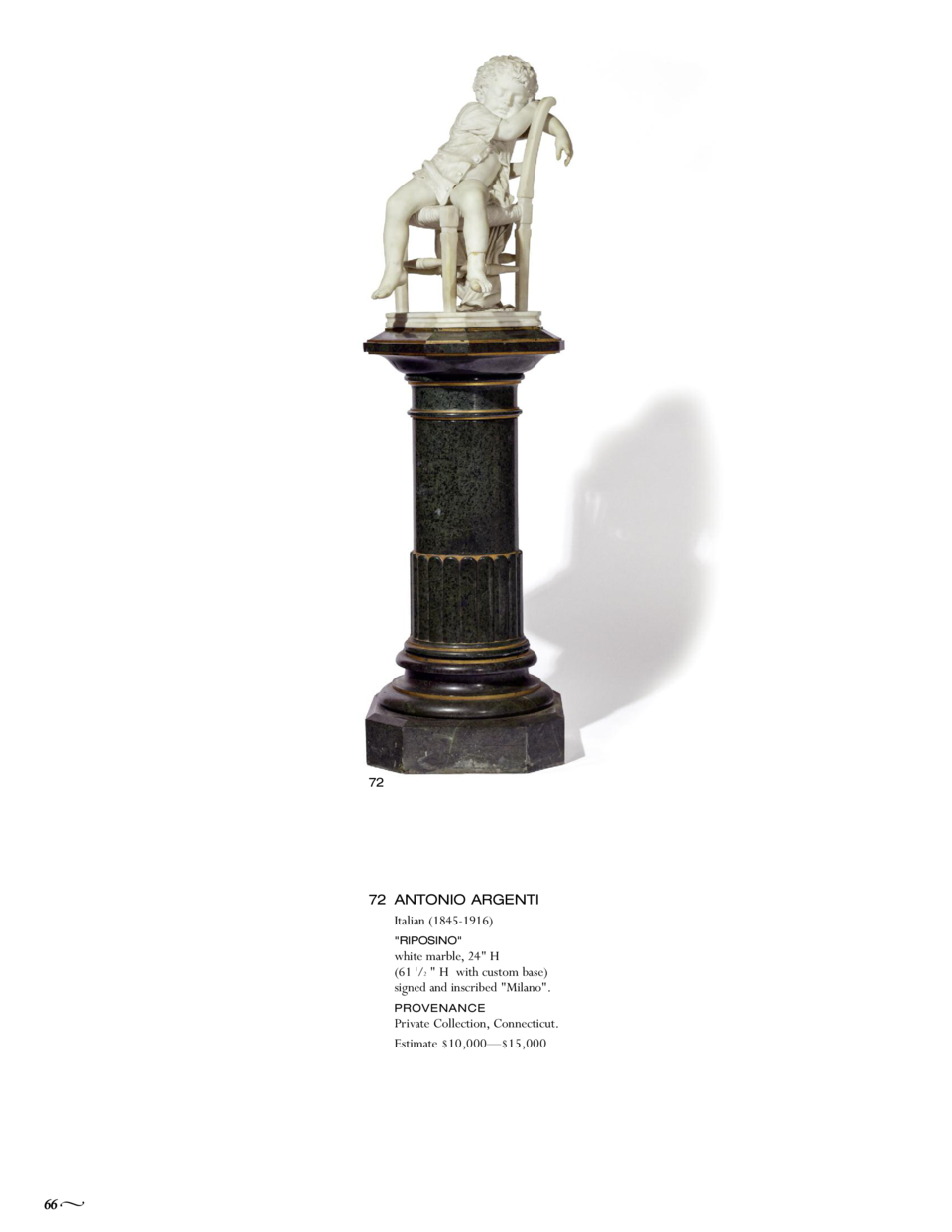 72  72 ANTONIO ARGENTI Italian  1845-1916  white marble, 24  H  61 1 2   H with custom base  signed and inscribed  Milano ...