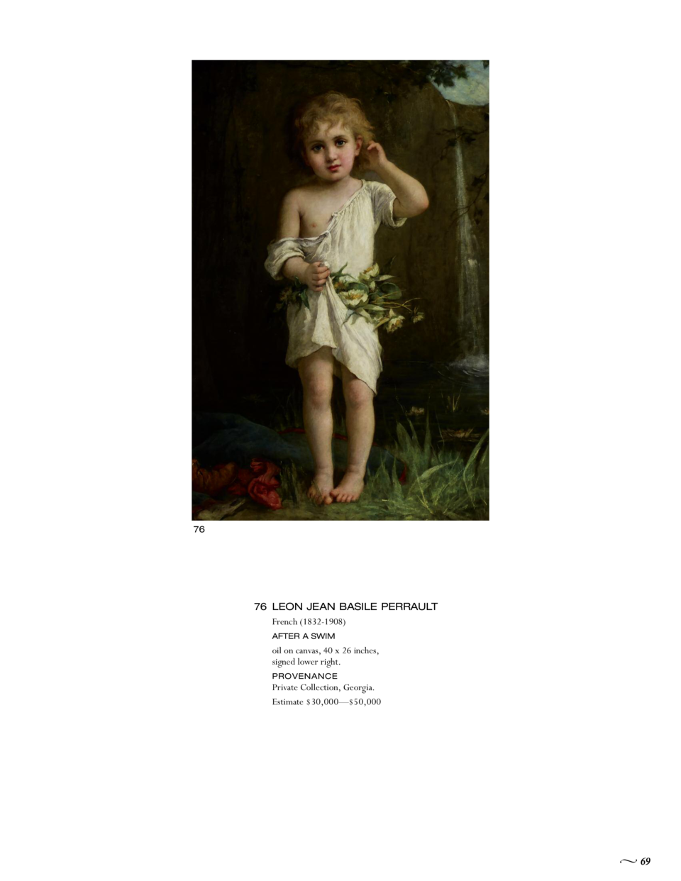 76  76 LEON JEAN BASILE PERRAULT French  1832-1908  AFTER A SWIM  oil on canvas, 40 x 26 inches, signed lower right. Priva...