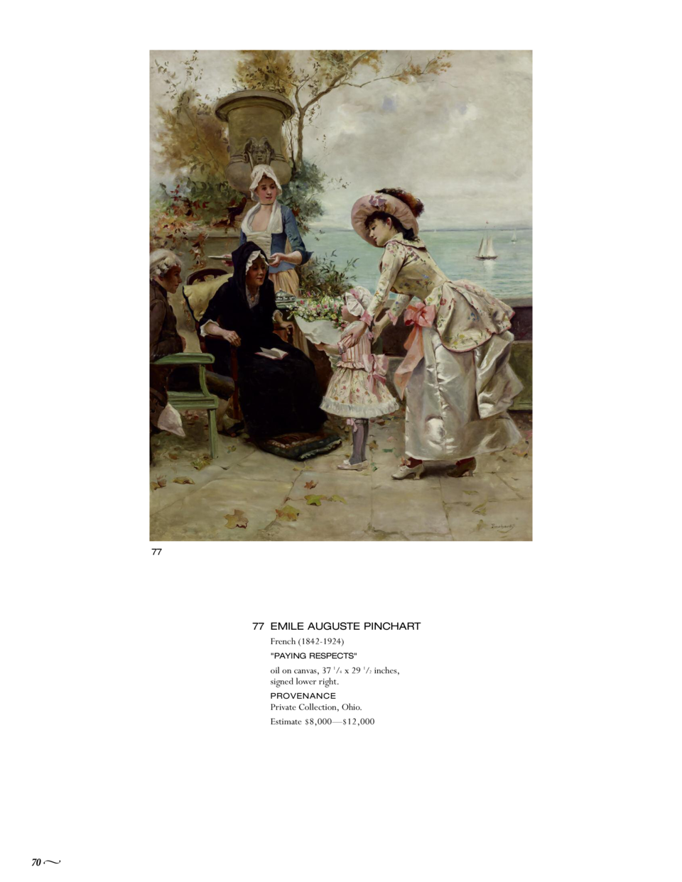 77  77 EMILE AUGUSTE PINCHART French  1842-1924   PAYING RESPECTS   oil on canvas, 37 1 4 x 29 1 2 inches, signed lower ri...
