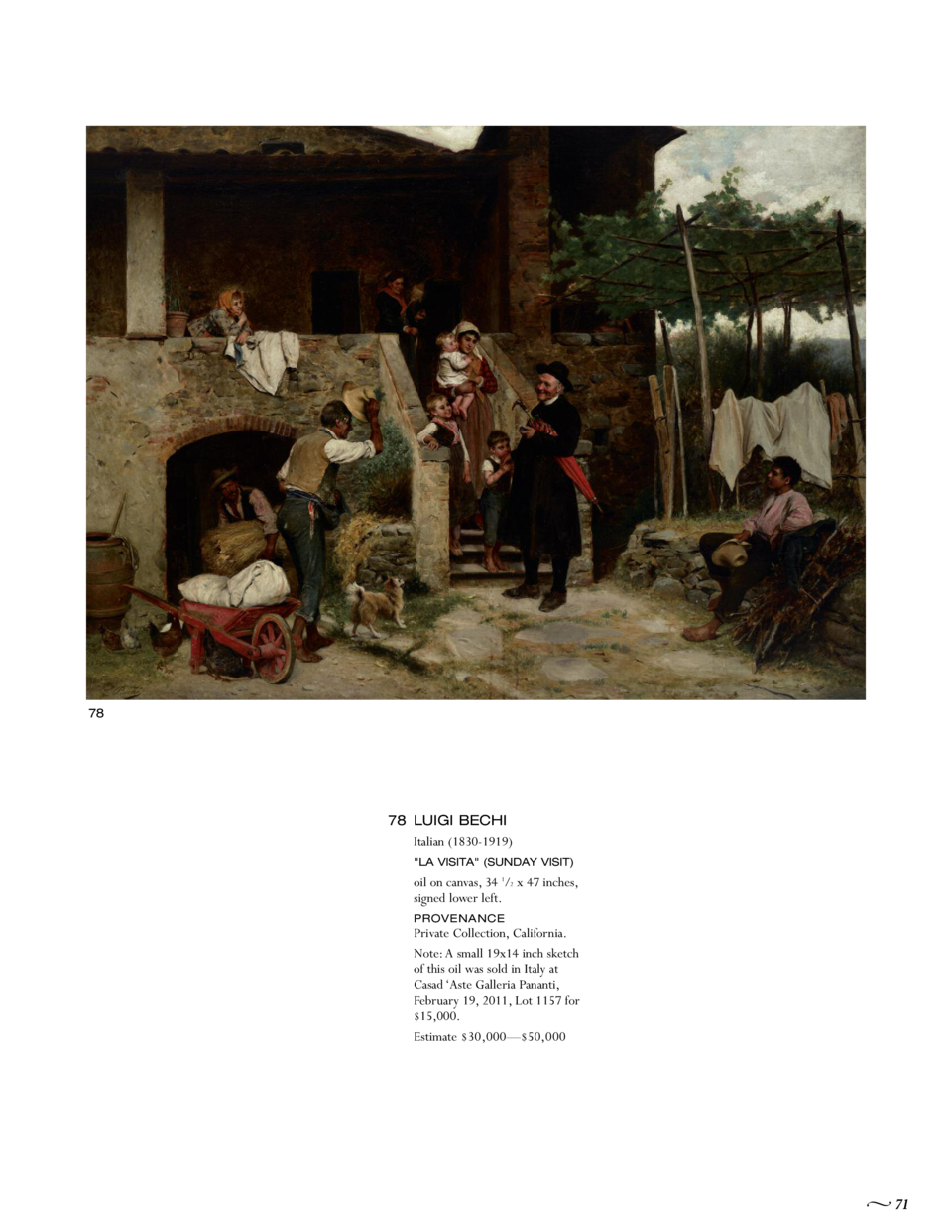 78  78 LUIGI BECHI Italian  1830-1919   LA VISITA   SUNDAY VISIT   oil on canvas, 34 1 2 x 47 inches, signed lower left. P...