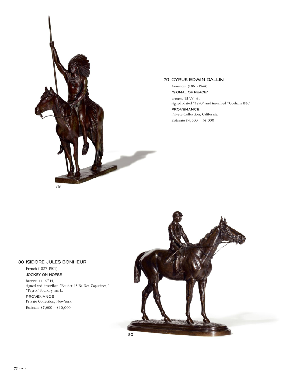 79 CYRUS EDWIN DALLIN American  1861-1944   SIGNAL OF PEACE   bronze, 13 1 2  H, signed, dated  1890  and inscribed  Gorha...