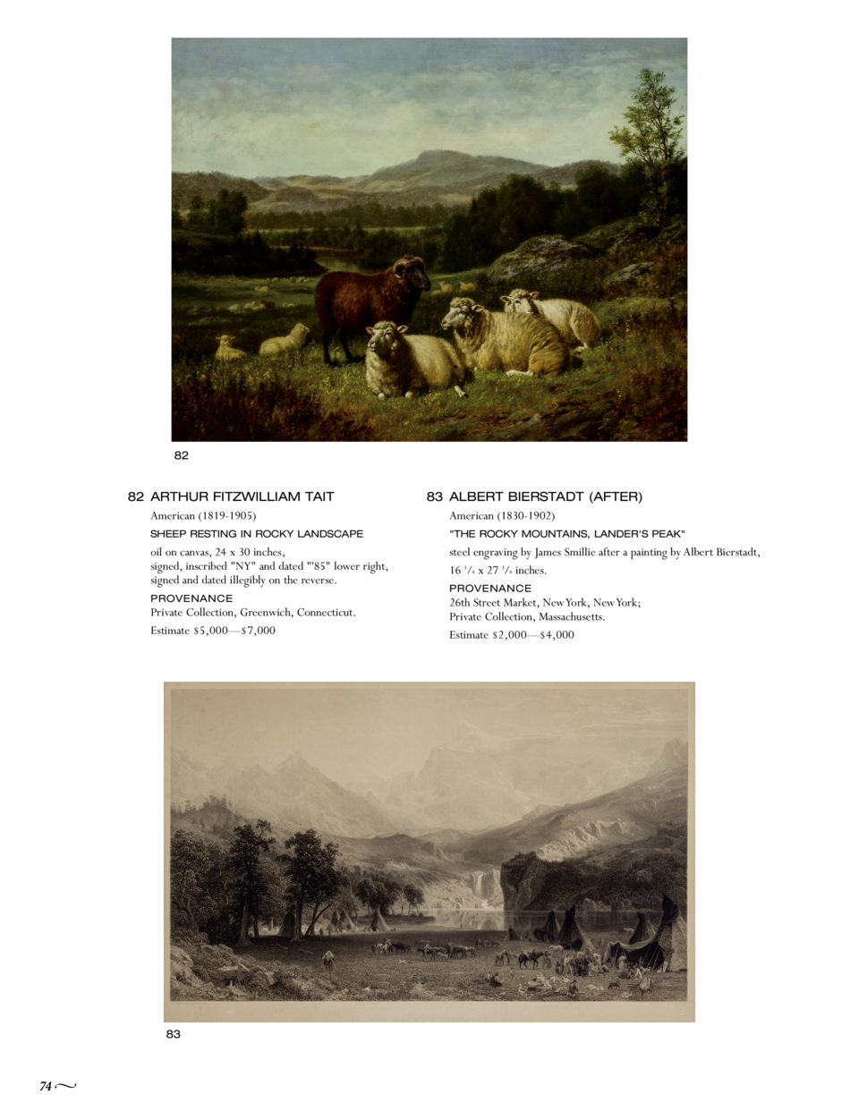 82  82 ARTHUR FITZWILLIAM TAIT American  1819-1905  SHEEP RESTING IN ROCKY LANDSCAPE  oil on canvas, 24 x 30 inches, signe...