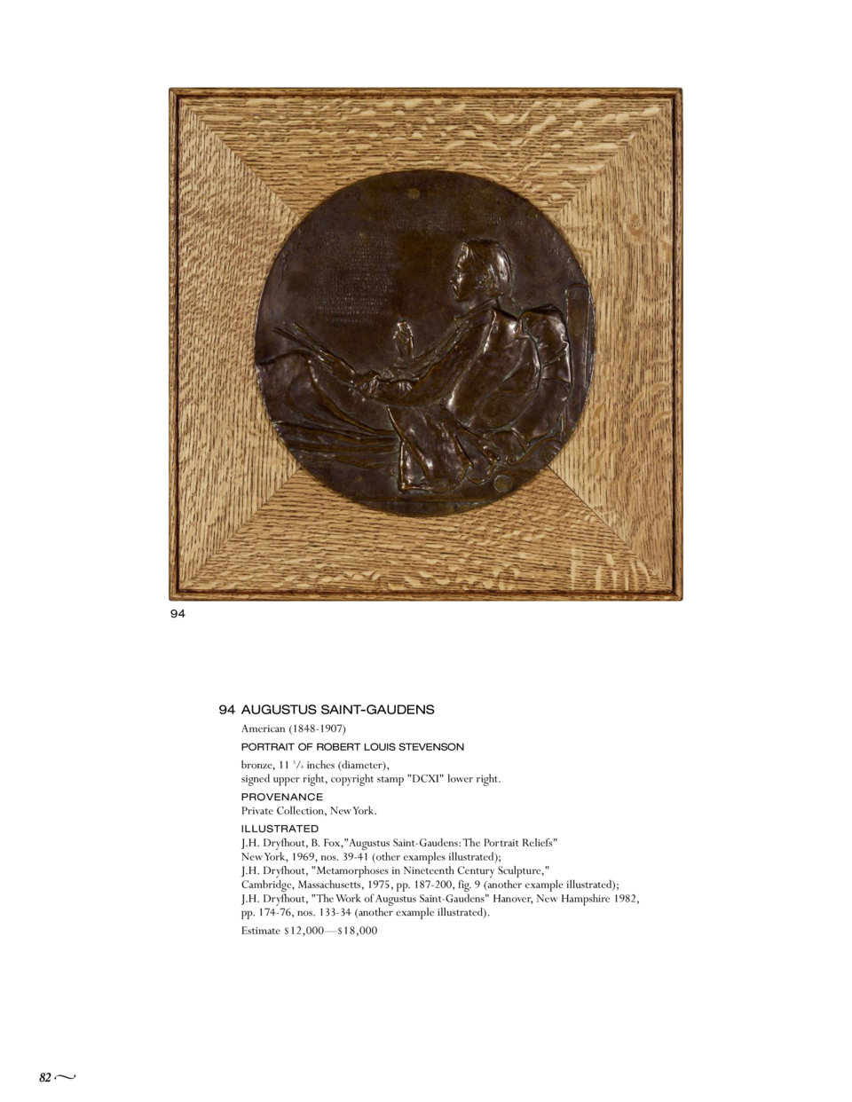 94  94 AUGUSTUS SAINT-GAUDENS American  1848-1907  PORTRAIT OF ROBERT LOUIS STEVENSON  bronze, 11 3 4 inches  diameter , s...
