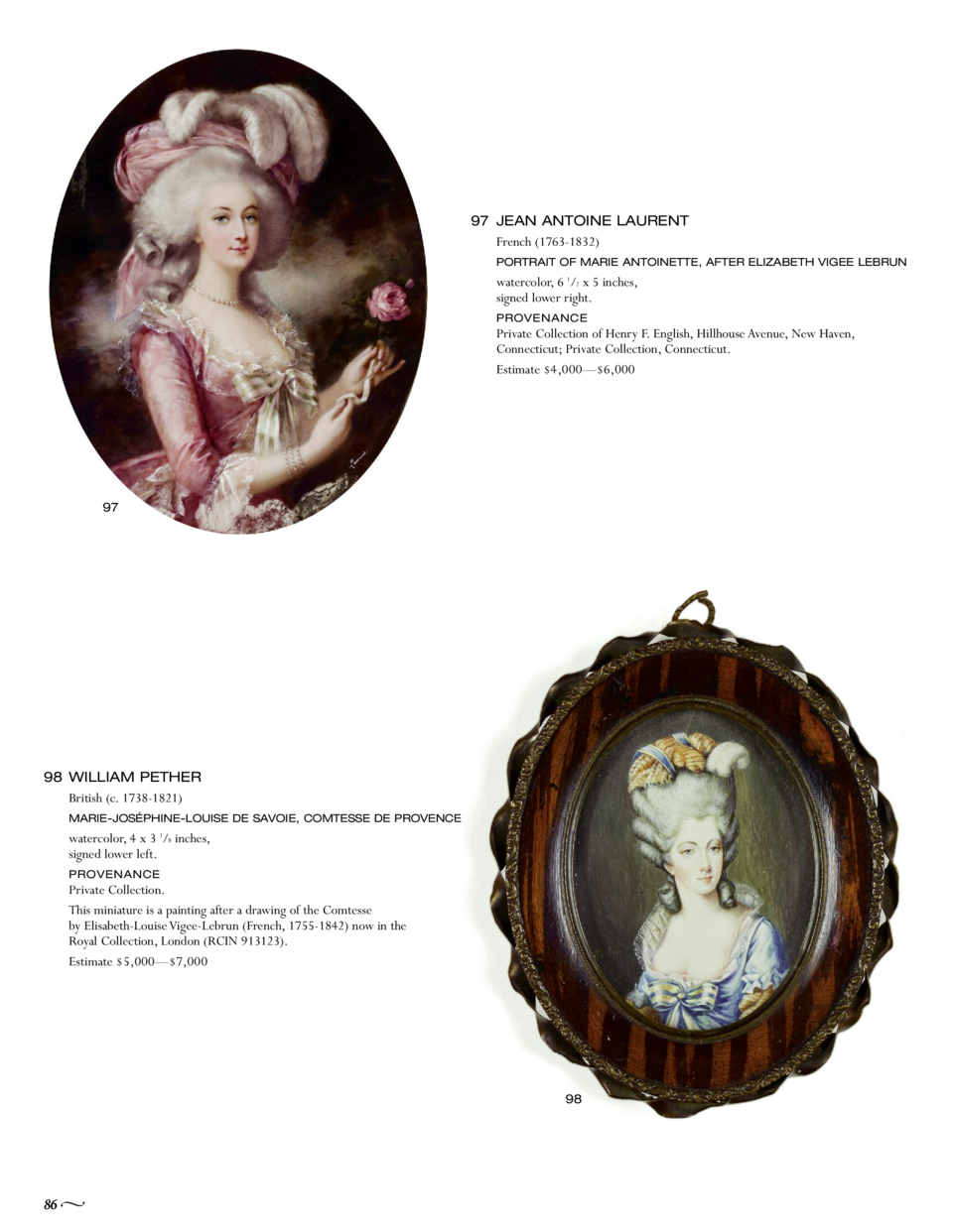 97 JEAN ANTOINE LAURENT French  1763-1832  PORTRAIT OF MARIE ANTOINETTE, AFTER ELIZABETH VIGEE LEBRUN  watercolor, 6 1 2 x...