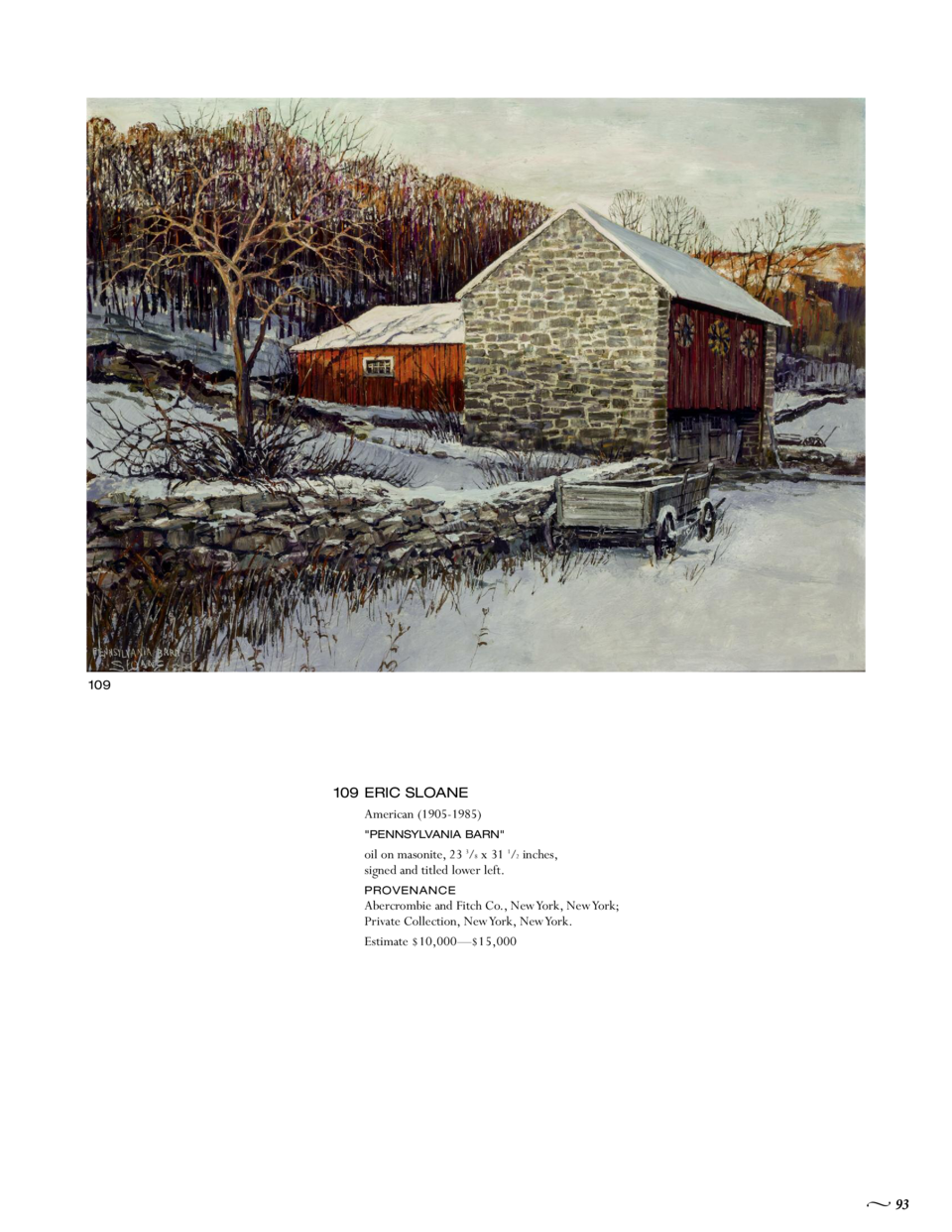 109  109 ERIC SLOANE American  1905-1985   PENNSYLVANIA BARN   oil on masonite, 23 3 8 x 31 1 2 inches, signed and titled ...