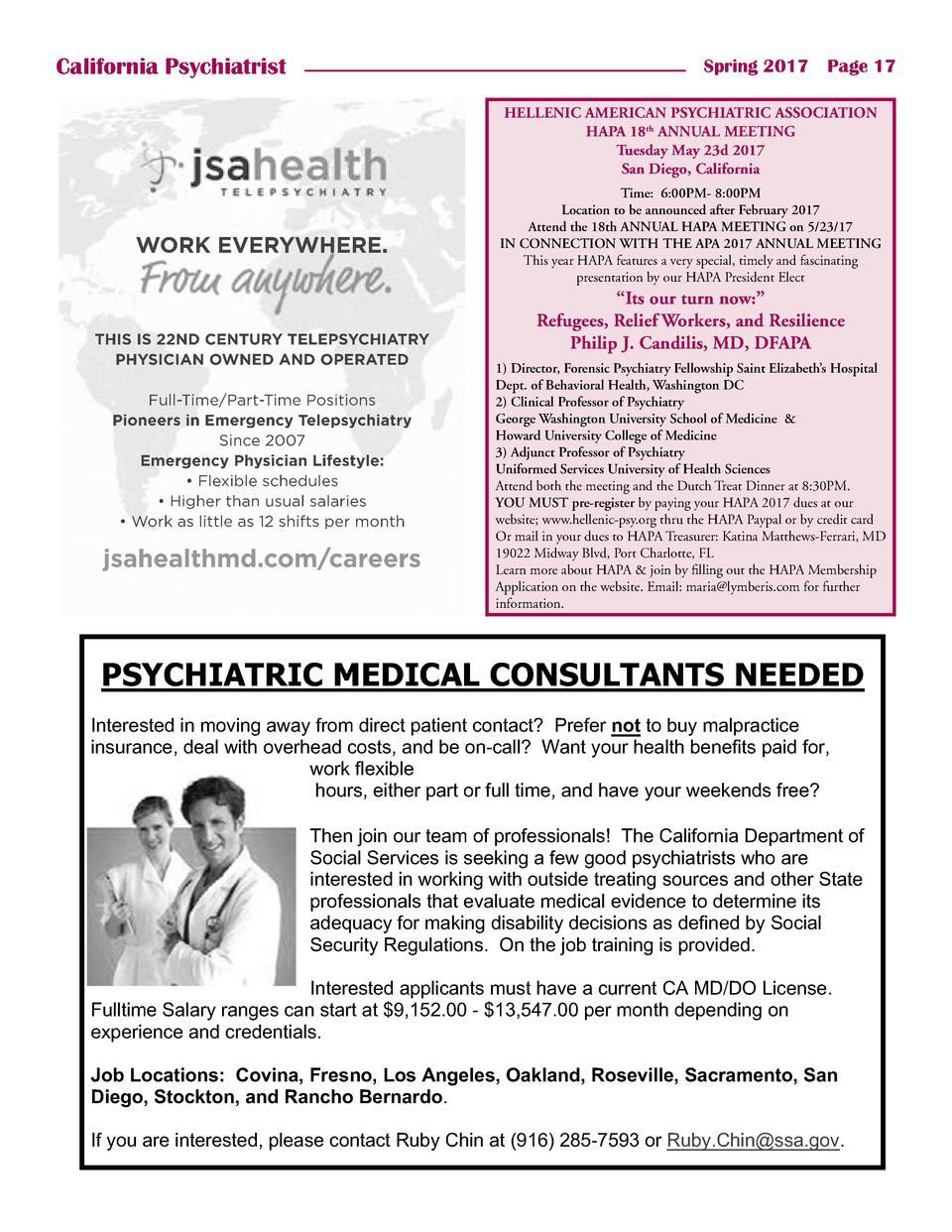 California Psychiatrist  Spring 2017    Page 17 HELLENIC AMERICAN PSYCHIATRIC ASSOCIATION HAPA 18th ANNUAL MEETING Tuesday...