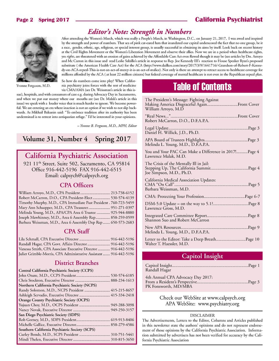 California Psychiatrist  Page 2    Spring 2017  Editor   s Note  Strength in Numbers After attending the Women   s March, ...