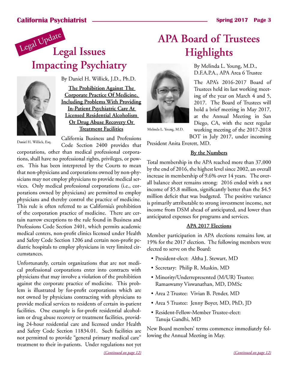 California Psychiatrist  Spring 2017    Page 3  e  dat p U gal  Le  Legal Issues Impacting Psychiatry By Daniel H. Willick...