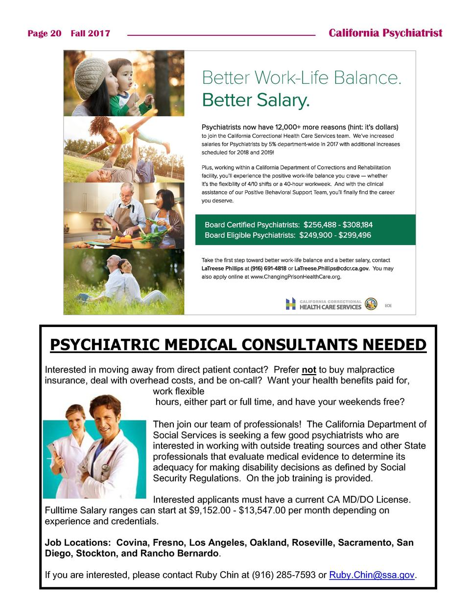 Page 20    Fall 2017  California Psychiatrist  Better Work-Life Balance. Better Salary.  Media  Psychiatry Times Run date ...
