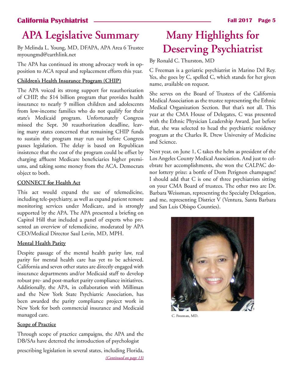 California Psychiatrist  Fall 2017    Page 5  APA Legislative Summary By Melinda L. Young, MD, DFAPA, APA Area 6 Trustee m...