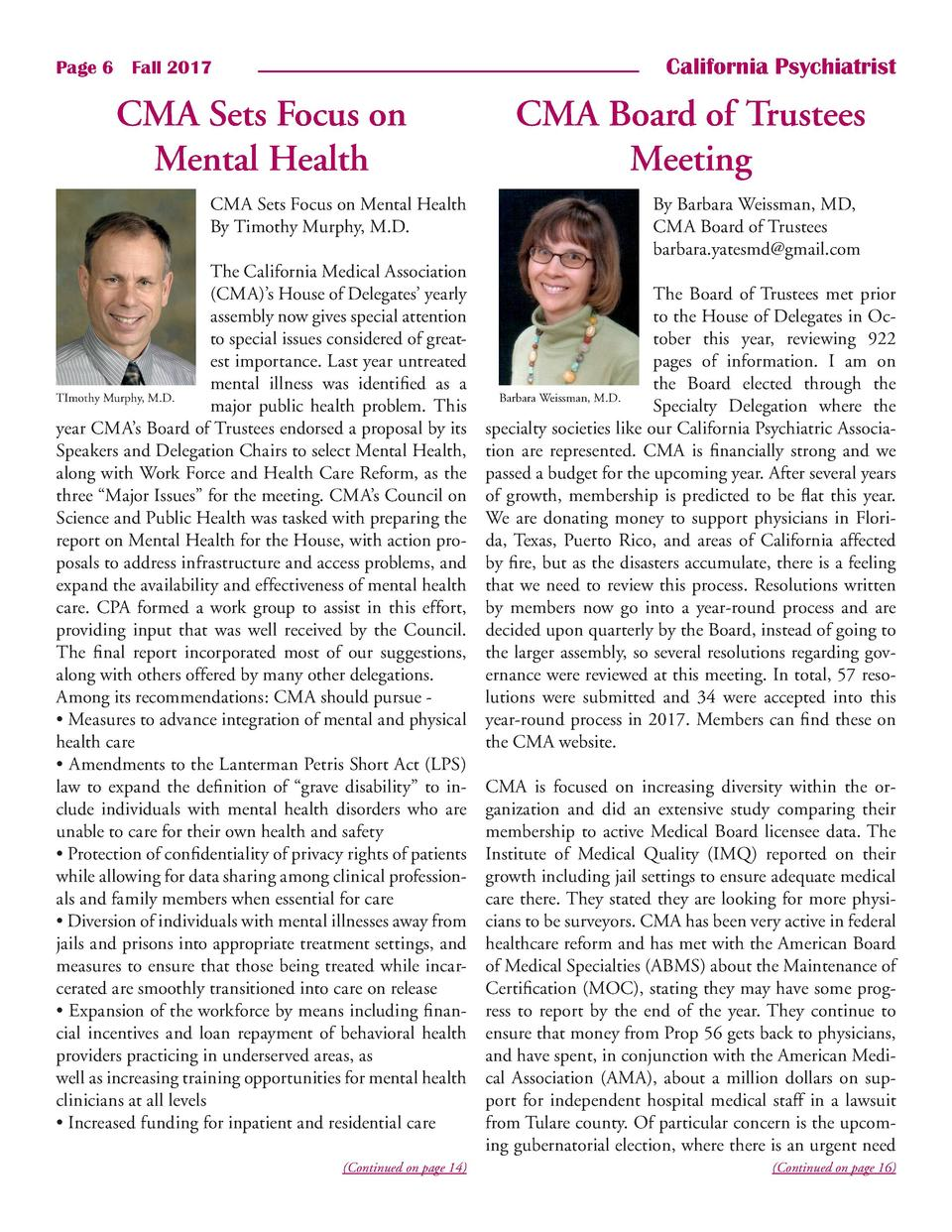 California Psychiatrist  Page 6    Fall 2017  CMA Sets Focus on Mental Health CMA Sets Focus on Mental Health By Timothy M...