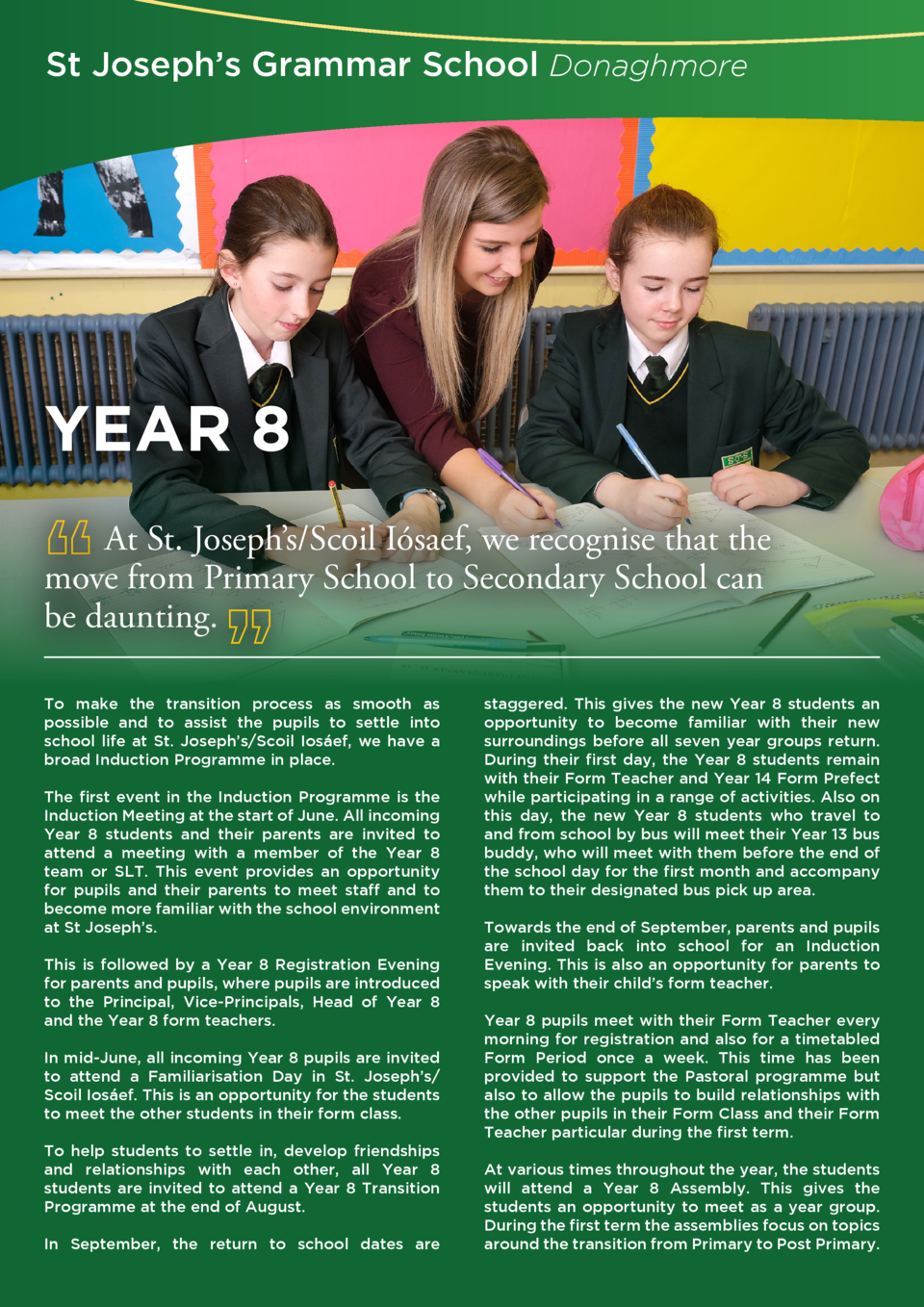 St Joseph   s Grammar School Donaghmore  YEAR 8 At St. Joseph   s Scoil I  saef, we recognise that the move from Primary S...