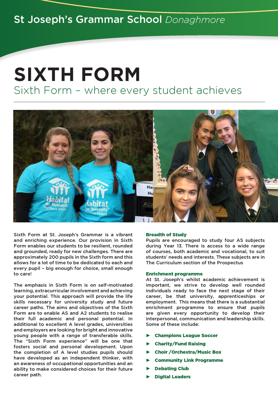 St Joseph   s Grammar School Donaghmore  SIXTH FORM  Sixth Form     where every student achieves  Sixth Form at St. Joseph...