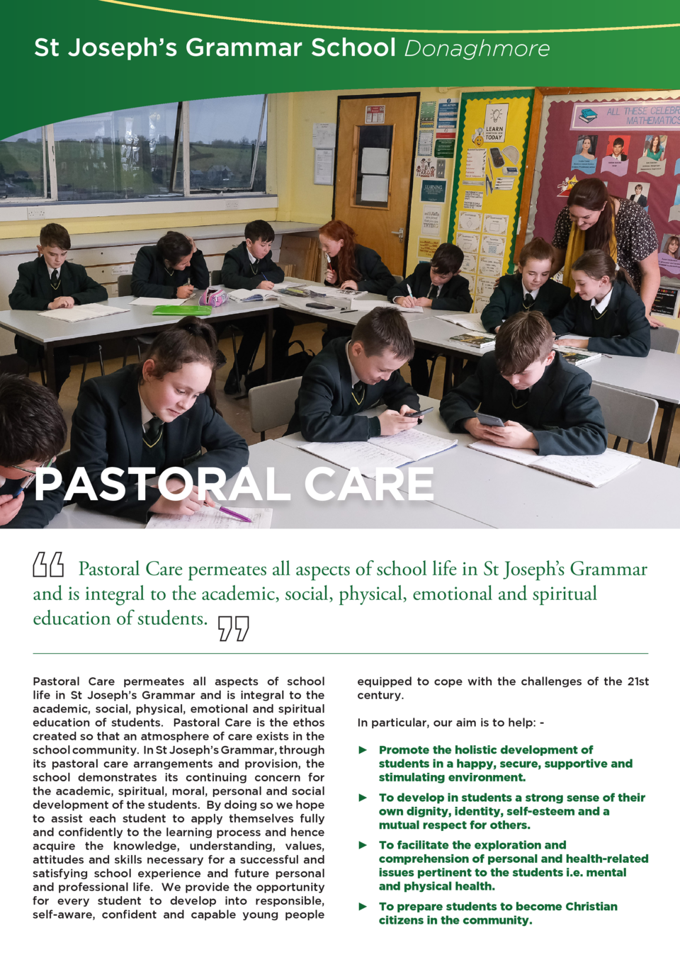 St Joseph   s Grammar School Donaghmore  PASTORAL CARE   Pastoral  Care permeates all aspects of school life in St Joseph ...