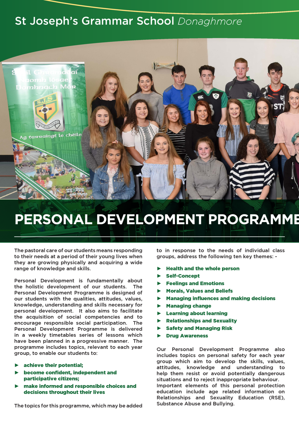 St Joseph   s Grammar School Donaghmore  PERSONAL DEVELOPMENT PROGRAMME The pastoral care of our students means responding...