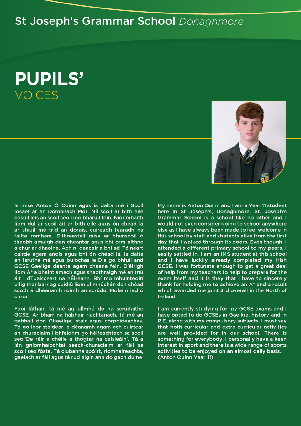 St Joseph   s Grammar School Donaghmore  PUPILS          VOICES  Is mise Anton    Coinn agus is dalta m   i Scoil I  saef ...