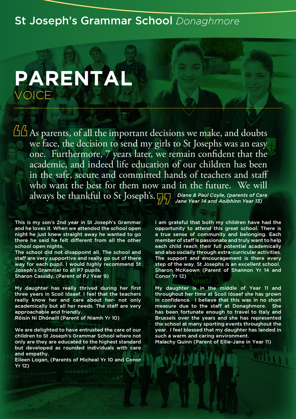 St Joseph   s Grammar School Donaghmore  PARENTAL  VOICE  As parents, of all the important decisions we make, and doubts w...