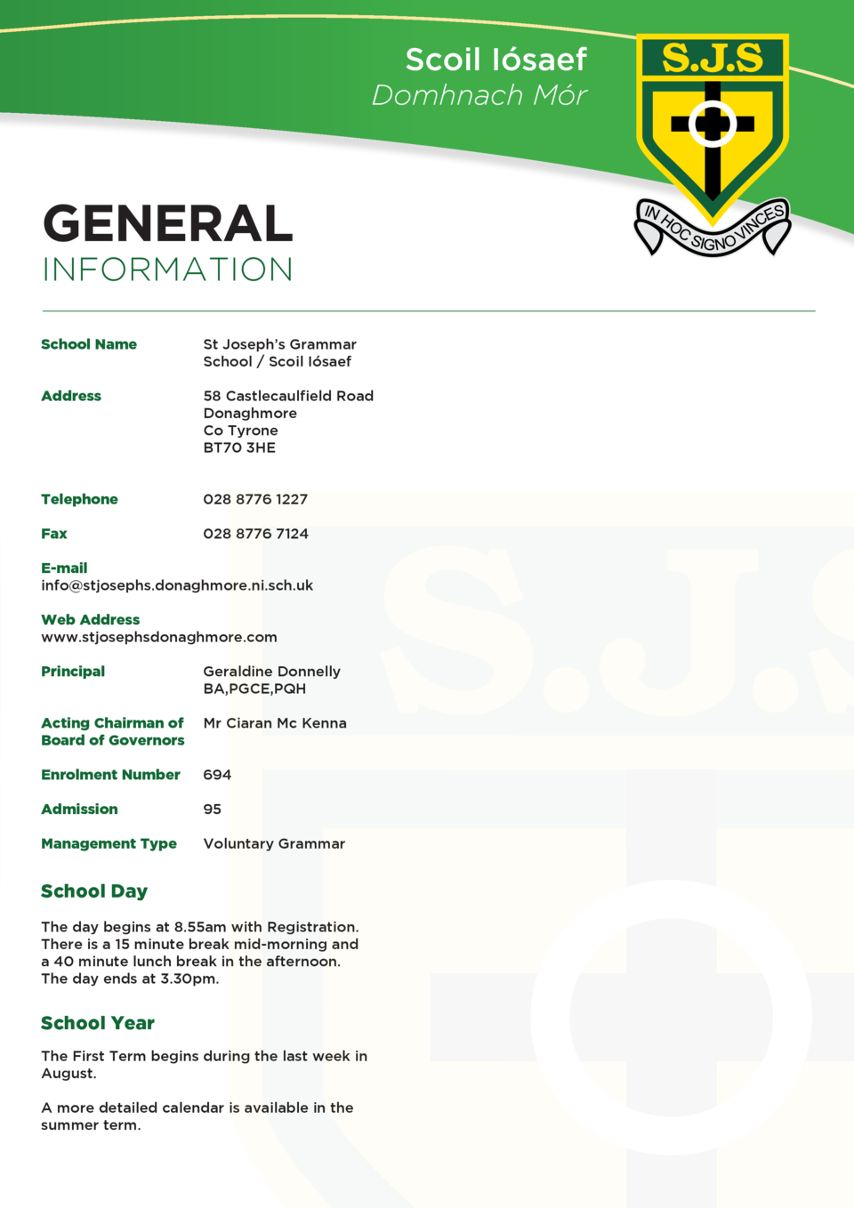 Scoil I  saef Domhnach M  r  GENERAL INFORMATION School Name     St Joseph   s Grammar School   Scoil I  saef  Address  58...