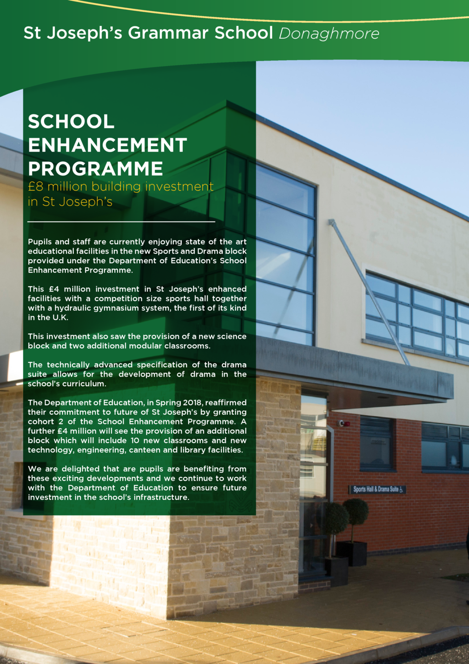 St Joseph   s Grammar School Donaghmore  SCHOOL ENHANCEMENT PROGRAMME   8 million building investment in St Joseph   s Pup...